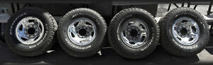 """8 Lug ( 8x6.5"""" ) Chrome Rims with Tires for large Trucks"""