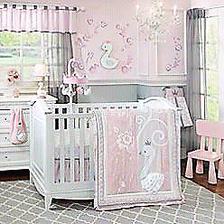 Lambs and Ivy swan bedding +