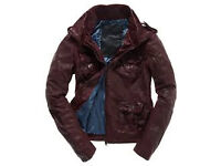 Superdry Megan Skinny Leather Oxblood Red Jacket Ladies L Immac Cond'. PAID £199