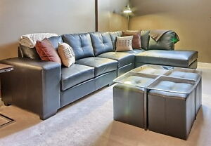 LIKE NEW Sectional Couch / Coffee Table with 4 Ottomans