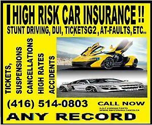 HIGH RISK DRIVERS WITH MANY CONVICTIONS & ACCIDENTS.416-514-0803