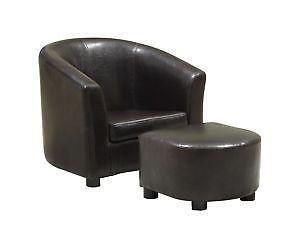 leather chairs and ottomans