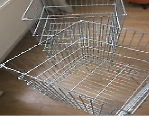 2 metal wire dump bins for retail stock display