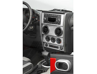 07-10 Jeep Wrangler JK Brushed Aluminum Dash Overlay Kit for Manual Windows