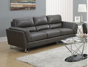 3 SEATS COUCH IN GREY OR BEIGE BONDED LEATHER WITH CHROME FEET