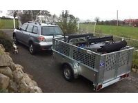 NEW 8x5 GALVANISED TRAILER WITH MESHSIDED & REAR RAMP DOOR SPARE WHEEL LOCK JOCKEY & REAR PROP STAND