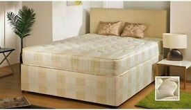 SPECIAL OFFER /// SMALL DOUBLE / DOUBLE DIVAN BED BASE WITH SEMI ORTHOPEDIC MATTRESS