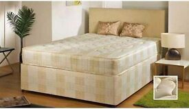 NEW STYLISH DOUBLE DIVAN BED Base WITH DEEP QUILT MATTRESS FREE DELIVERY