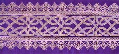 (Purple Silk Brocade Metallic Jacquard Trim. Celtic Knot)