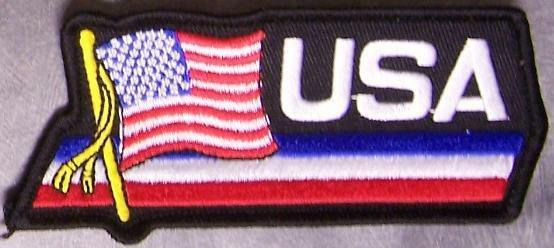 Embroidered International Patch National Flag of  USA United States NEW streamer