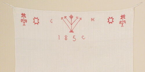 Decorated 1859 PA. German Linen Hand Towel with Cross Stitch of C H