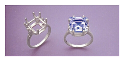 (10x10-11x11mm) Square 8-Prong Sterling Silver Pre-Notched Ring Setting Size 7