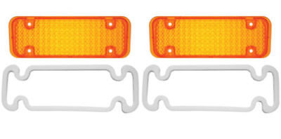 1971 - 1972 Chevy Pickup Truck PARKING LIGHT LENS  AMBER 1 PAIR with gaskets