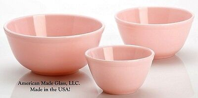 Set 3 Crown Tuscan Pink Glass Mixing Nesting Bowls - Mosser USA