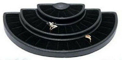 Black 36 Ring Half Round 3-tier Tray Jewelry Display Holder Showcase Stand Case