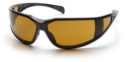 Pyramex Exeter Safety Glasses With Black Frame And Shooters Amber Anti-fog Lens