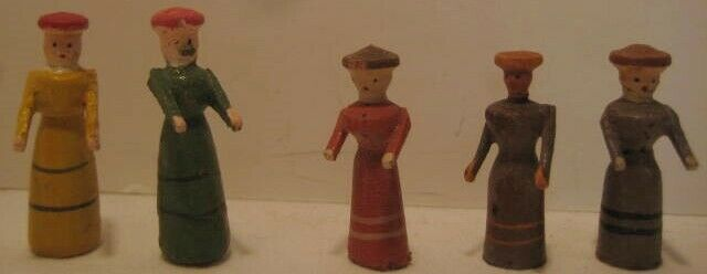 5 Old Tiny Wood Carved German Erzgebirge Christmas Putz Village People - Women
