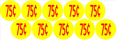 10 Price Stickers Vending Machine Candy Stickers Label .75 Cent Free Shipping