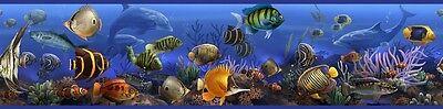 New Peel & Stick TROPICAL FISH WALLPAPER BORDER Ocean Blue Bathroom Wall Decor