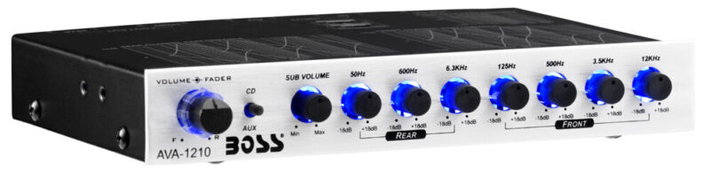 BOSS Audio 7-Band Car Stereo Equalizer Preamp Amplifier EQ w/ LED | AVA1210