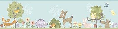 Forest Wallpaper Border (WOODLAND ANIMALS WALLPAPER BORDER Baby Nursery Forest Animals Wall Decor )