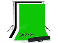 1.6 x 3m Photo Studio Black White Green Screen Background Backdrop Stand Kit