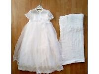 Stunning Sarah Louise christening dress and shawl approx 12 months