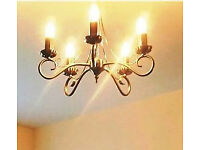 Ceiling light fitting with 5 candle bulbs, antique bronze finish