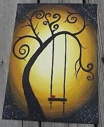 Tree and swing canvas wall art