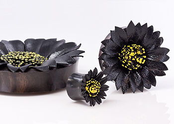 BLACK Flower Painted Leather Double Flare Horn Plug 8mm - 50mm - Price Per 1