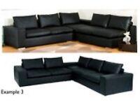 Dwell brand, Black Leather Sofa (2+1+2 Seater)