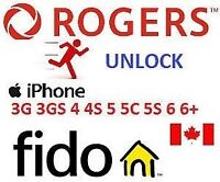 FACTORY UNLOCKING SERVICE IPHONE 6+/6/5s/5/4s/4  FIDO AND ROGERS
