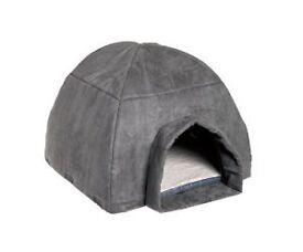 MODERN GREY DOG CAT BED DOME IGLOO SOFT WASHABLE