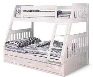 Single over double white bunkbed with ladder