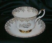 Happy Birthday Royal Albert Bone China Tea Cup & Saucer