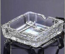 SQUARE CLEAR GLASS CIGARETTE ASHTRAY