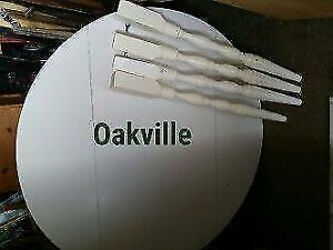 "Oakville KITCHEN TABLE 40"" ROUND WHITE 4 LEGS Solid Wood  Retro Vintage Solid Dowels"
