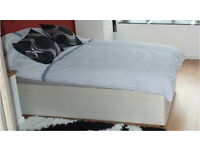 Complete single bed base, mattress, topper and all linen & duvet & cushions