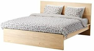 IKEA bed frame only, high, white stained oak veneer
