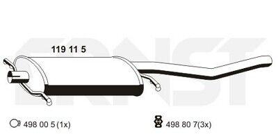 Ernst | Endschalldämpfer (119115) für VW SCIROCCO 53B Auspufftopf | Dämpfer