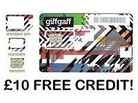 Giffgaff SIM cards £10 free credit!!!!