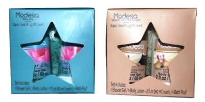 Modesa 3 Piece Gift Set (Shower Gel, Lotion & Bath Pouf) ~Choose From 4 Scents~ 3 Piece Bath Shower