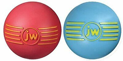 JW Pet Company iSqueak Ball Rubber Dog Toy, Colors Vary Medium Pack of 2 -