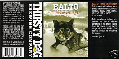 BALTO BEER bottle LABEL Unused Siberian Husky Seppala