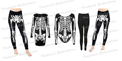 LETON TUNIC TOP LEGGINGS SCARY BODYSUIT FANCY DRESS COSTUME (Top Scary Halloween-kostüme)