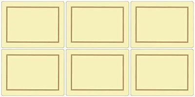 Pimpernel 10.5 x 10.5 cm MDF with Cork Back Placemats, Set of 6, Classic Cream Pimpernel Classic Cream