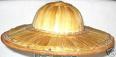 Hat Cap Round Oriental Woven Palm Straw Hat Costume (Straw Hat Oriental)