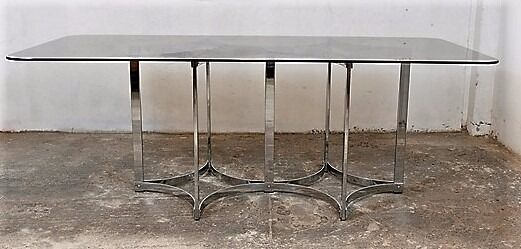 Captivating 1960u0027S MERROW ASSOCIATES DINING TABLE BY RICHARD YOUNG Chrome And Smoked  Glass