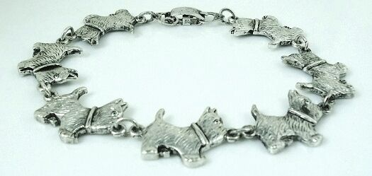 8 inch Adorable Cairn Terrier Bracelet antique silver plated FREE SHIPPING