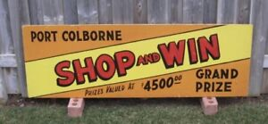 1960's Port Colborne Merchant Hand Painted Wood Sign